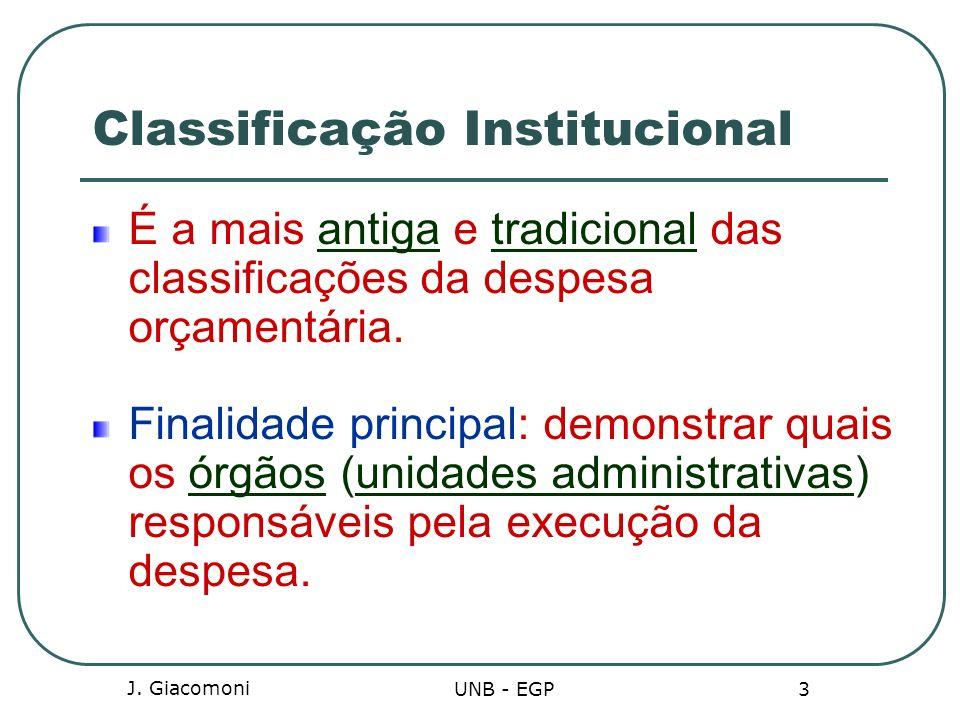 Classificação Institucional É a mais antiga e tradicional das classificações da despesa orçamentária. Finalidade principal: demonstrar quais os órgãos