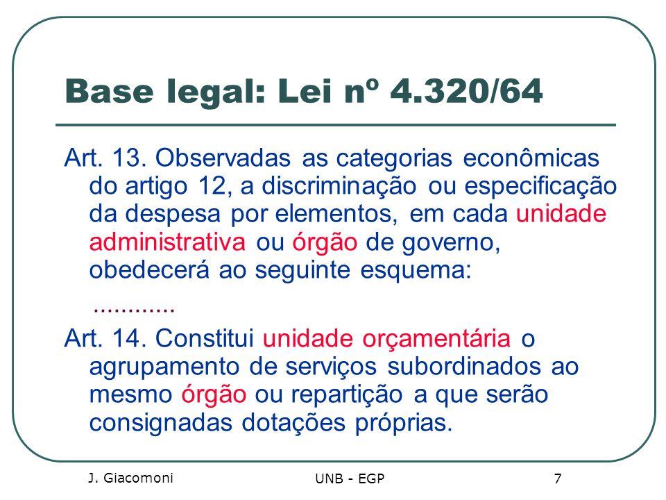 Base legal: Lei nº 4.320/64 Art. 13. Observadas as categorias econômicas do artigo 12, a discriminação ou especificação da despesa por elementos, em c