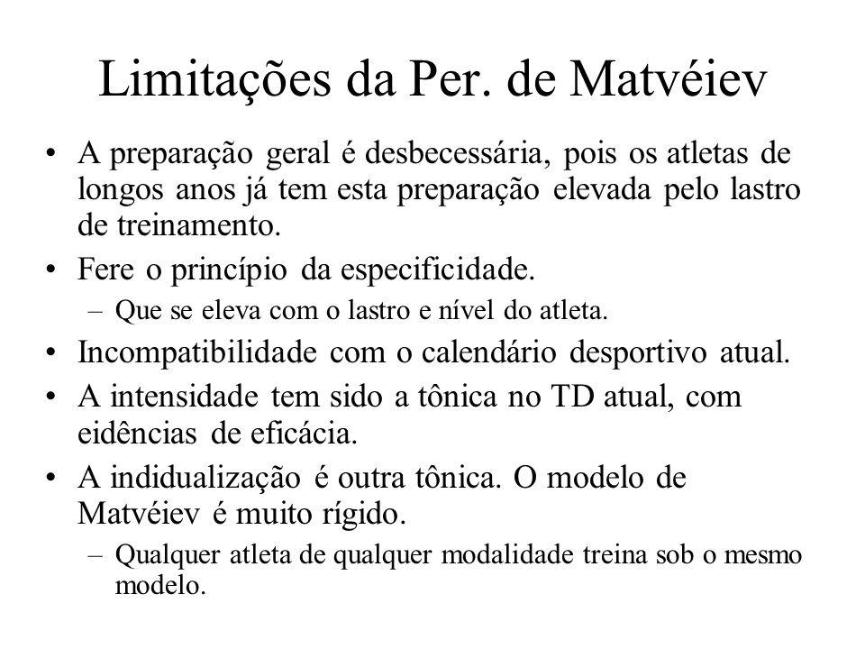 Limitações da Per. de Matvéiev A preparação geral é desbecessária, pois os atletas de longos anos já tem esta preparação elevada pelo lastro de treina