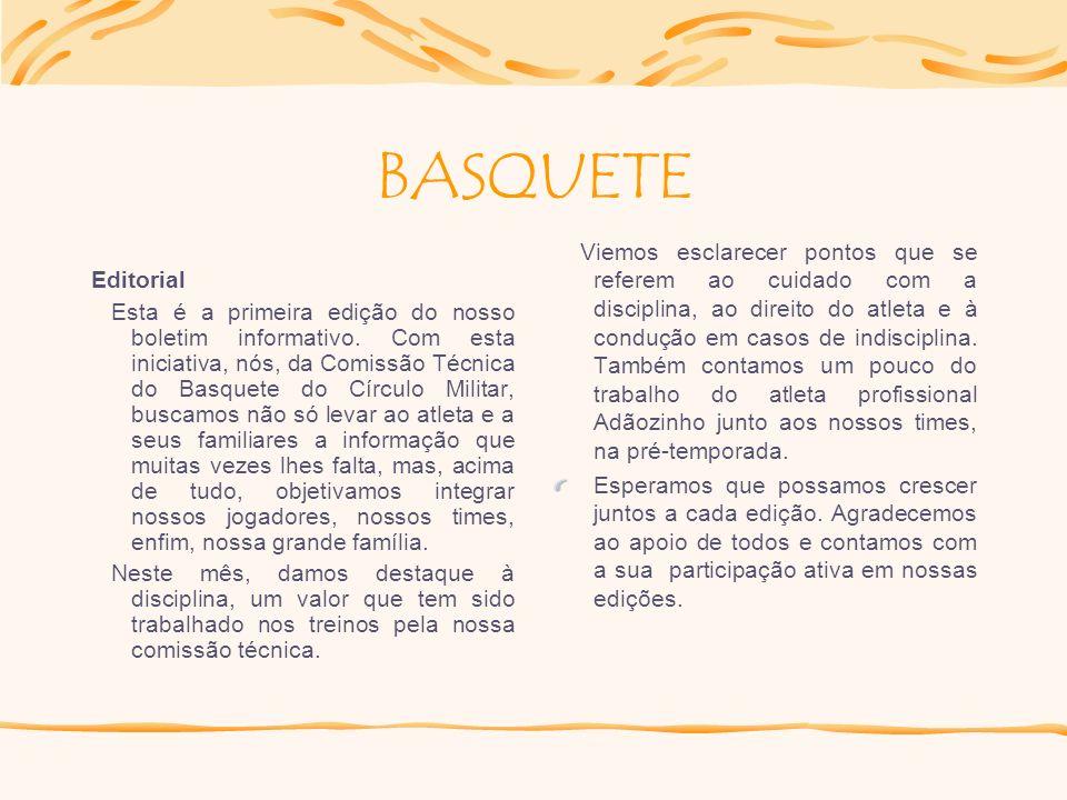 Participe você também! Boletim Informativo Basquete Círculo Militar Nosso boletim está abrindo um espaço para sua colaboração. Você pode contribuir co