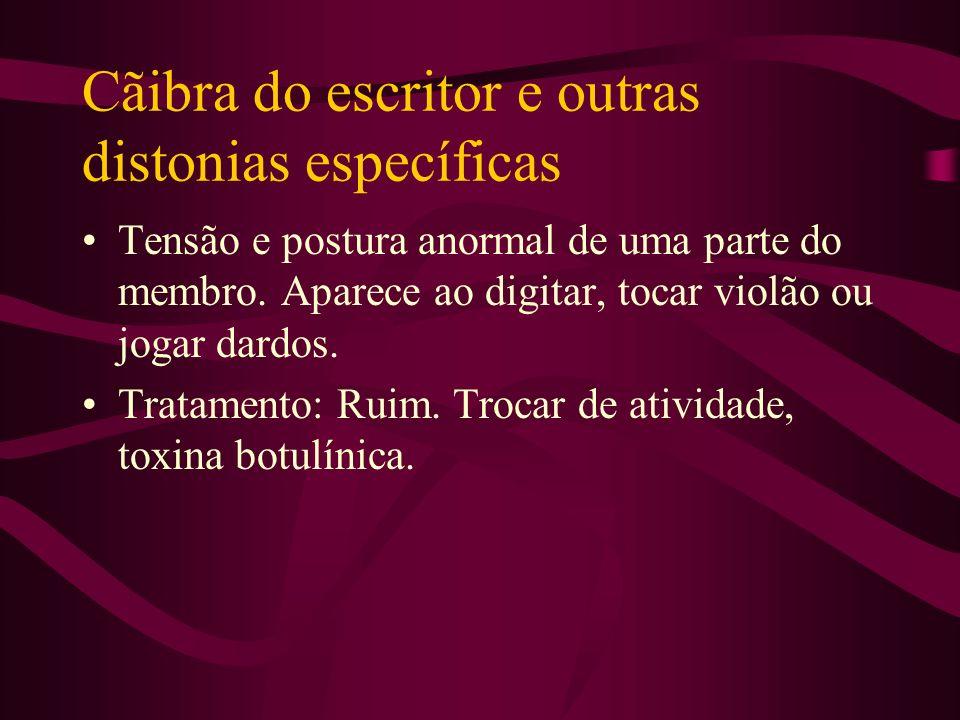 Distonia Cervical Mostra movimentos cranianos anormais, posição anormal da cabeça, dor no pescoço. Causa desconhecida ou por neurolépticos ou por lesõ