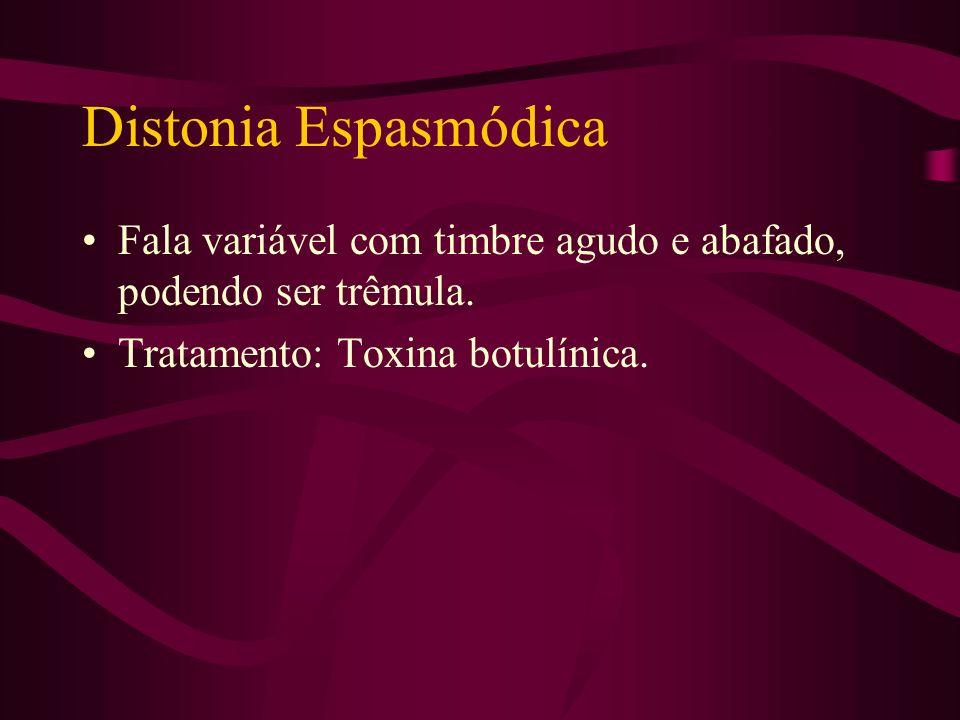 Blefaroespasmo Os olhos do paciente se fecham de forma involuntária. Tratamento: Toxina botulínica.