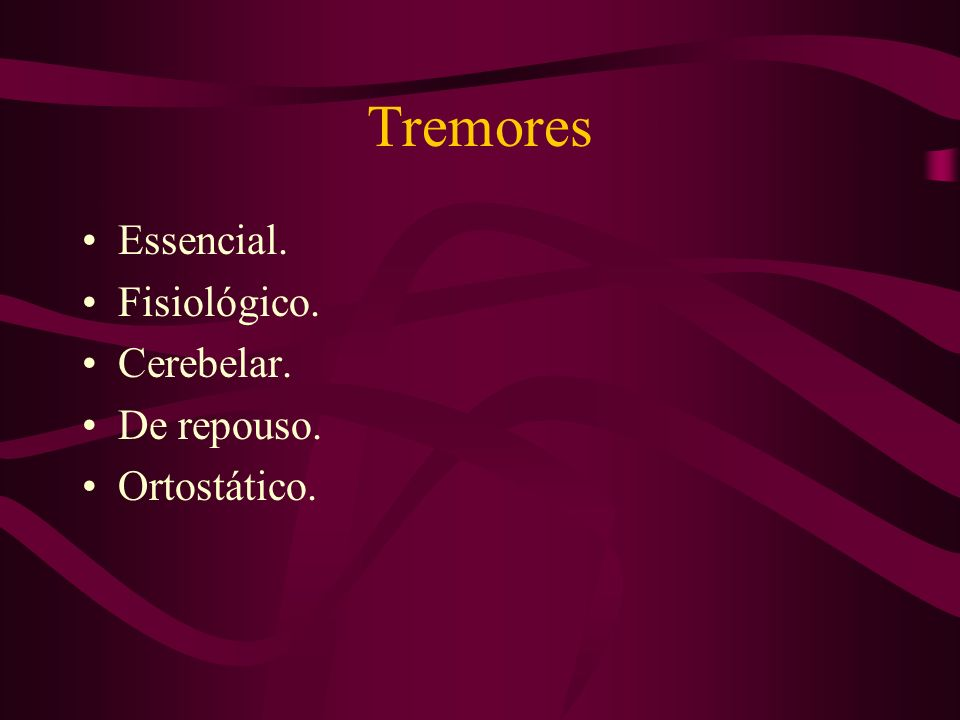 São: Tremores. Distonias. Doença de Wilson. Coréias. Hemibalismo. Síndromes de tique Mioclonias Espasmo hemifacial. Síndrome das pernas inquietas. Sín