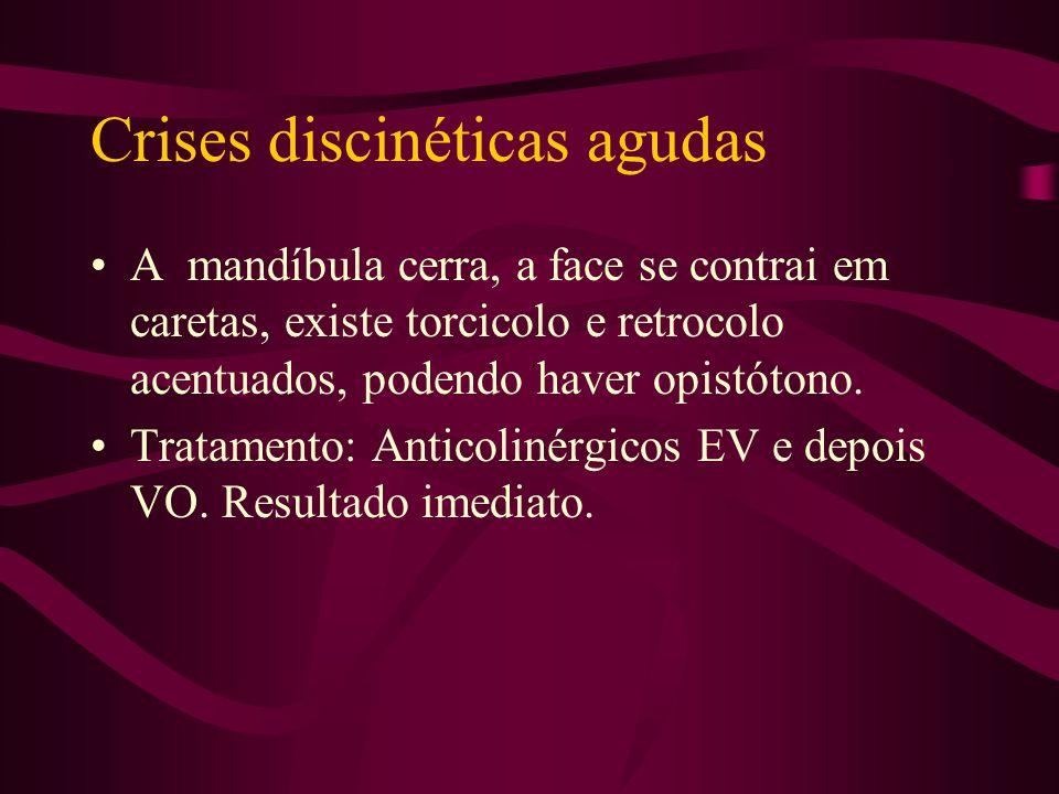 Crises oculógiras agudas Ocorrem em 2% dos pacientes com uso de neurolépticos e antieméticos (procloperazina e metoclopamida). Tratamento: Antocolinér