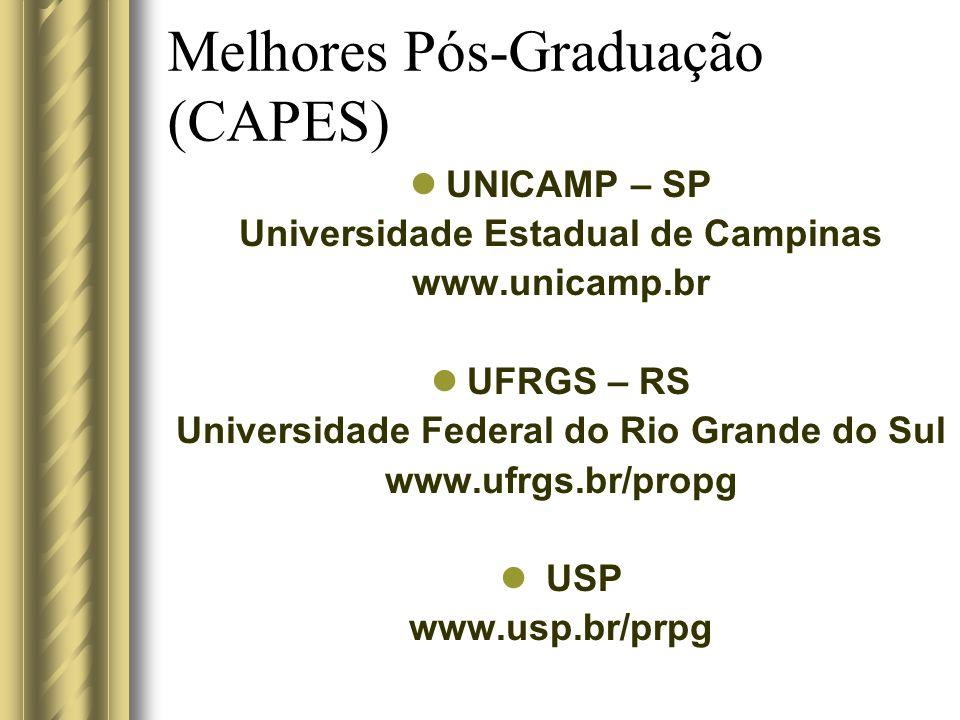 Melhores Pós-Graduação (CAPES) UNICAMP – SP Universidade Estadual de Campinas www.unicamp.br UFRGS – RS Universidade Federal do Rio Grande do Sul www.