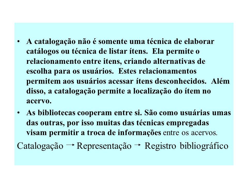 Definição e funções da Catalogação A catalogação corresponte à representação descritiva (extrínseca) da obra. Implica na identificação das característ