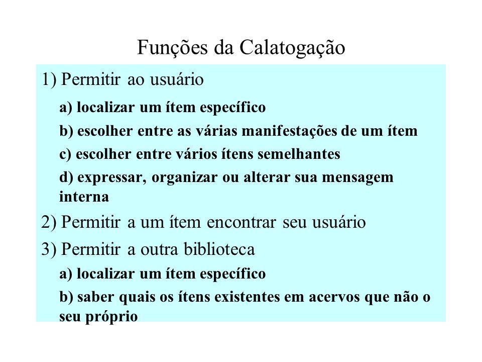 A catalogação não é somente uma técnica de elaborar catálogos ou técnica de listar ítens. Ela permite o relacionamento entre itens, criando alternativ