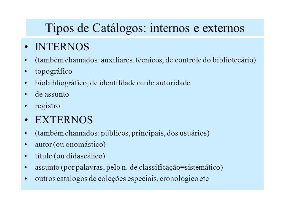 Em síntese o catálogo serve para: Indicar obras existentes, por autor ou qualquer outro responsável pela publicação (tradutor, ilustrador, etc) Indica