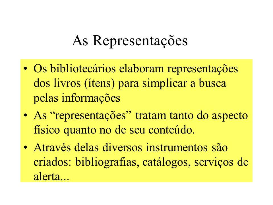 As Representações Os bibliotecários elaboram representações dos livros (ítens) para simplicar a busca pelas informações As representações tratam tanto do aspecto físico quanto no de seu conteúdo.