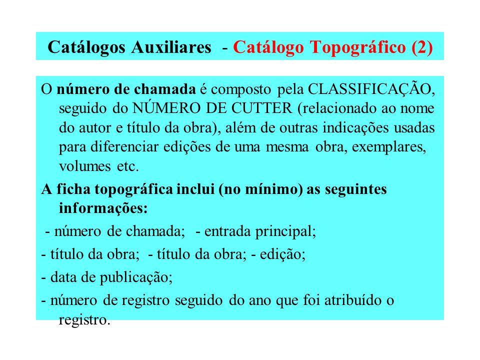 Catálogos Auxiliares - Catálogo Topográfico (1) No catálogo topográfico as fichas são ordenadas segundo o número de chamada de cada publicação. Este n