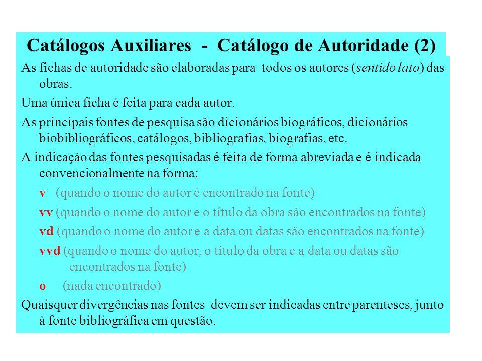 Catálogos Auxiliares - Catálogo de Autoridade Também chamado de catálogo biobibliográfico ou de identidade. É o catálogo que registra as informações b