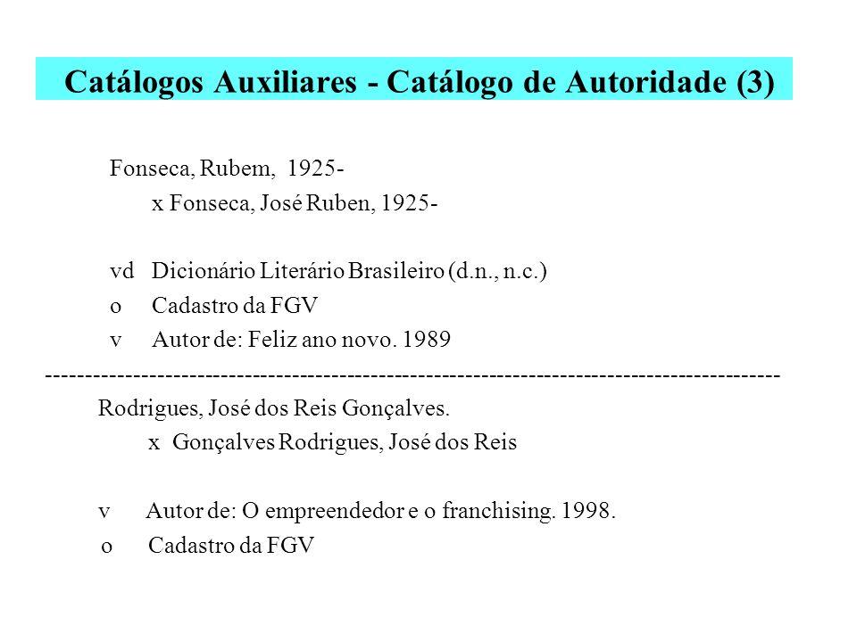Catálogos Auxiliares - Catálogo de Autoridade (2) As fichas de autoridade são elaboradas para todos os autores (sentido lato) das obras. Uma única fic