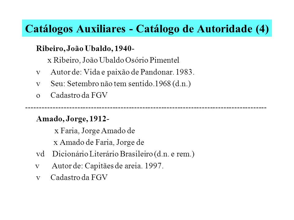 Catálogos Auxiliares - Catálogo de Autoridade (3) Fonseca, Rubem, 1925- x Fonseca, José Ruben, 1925- vd Dicionário Literário Brasileiro (d.n., n.c.) o