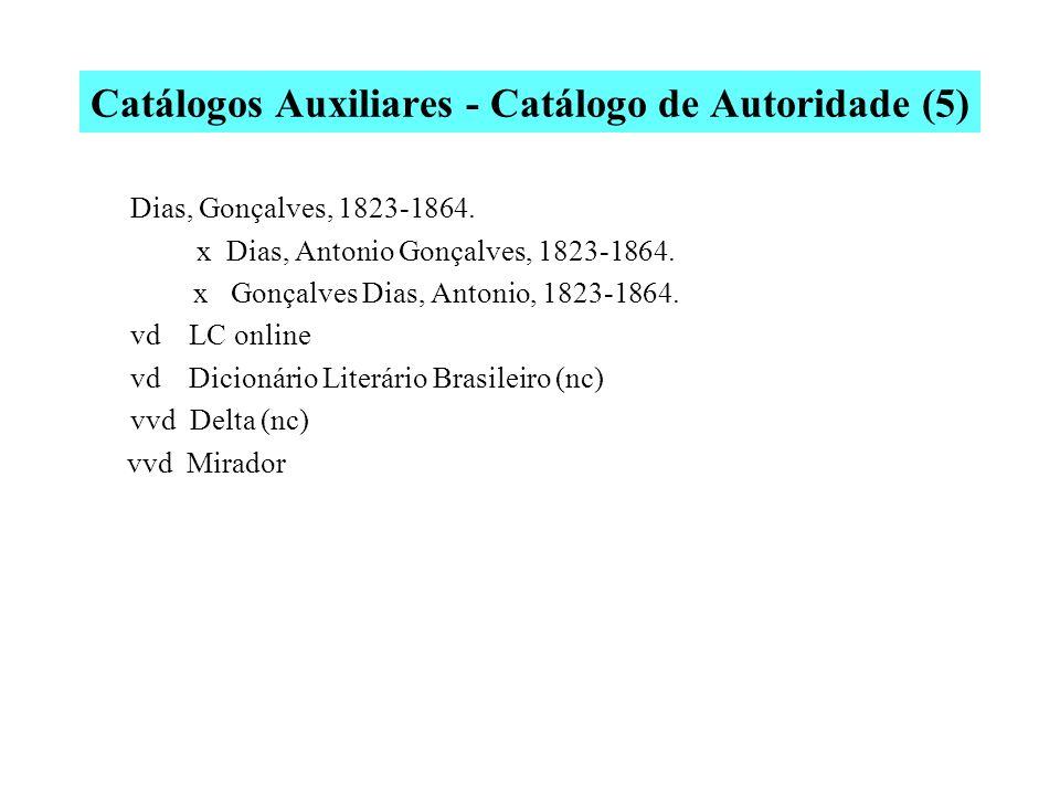 Catálogos Auxiliares - Catálogo de Autoridade (4) Ribeiro, João Ubaldo, 1940- x Ribeiro, João Ubaldo Osório Pimentel v Autor de: Vida e paixão de Pand