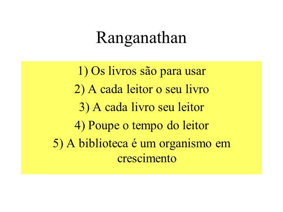 Ranganathan 1) Os livros são para usar 2) A cada leitor o seu livro 3) A cada livro seu leitor 4) Poupe o tempo do leitor 5) A biblioteca é um organismo em crescimento
