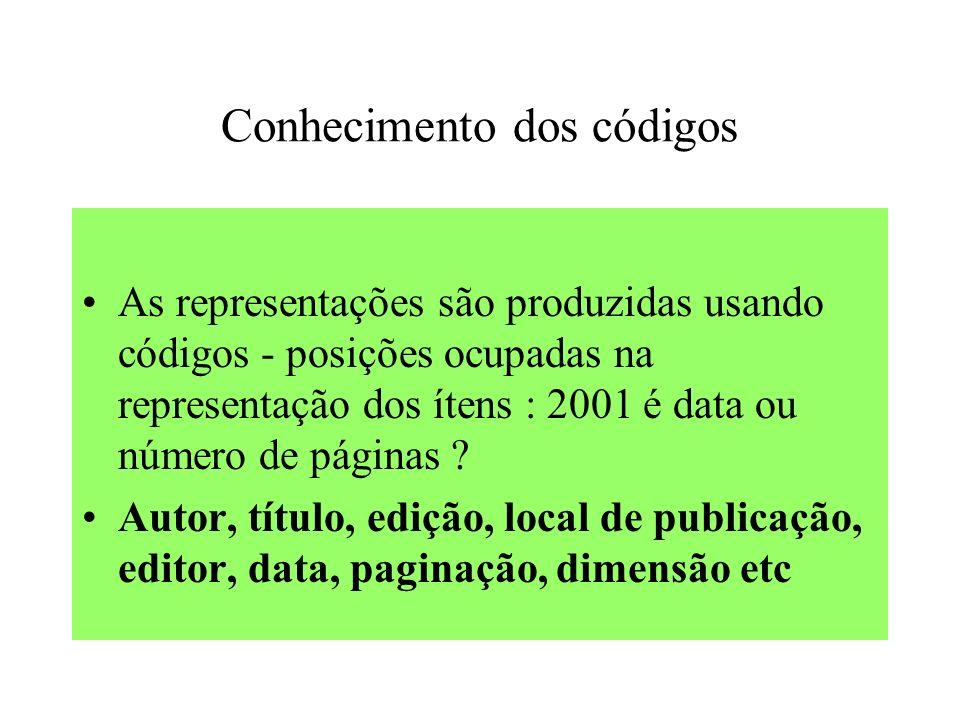 Conhecimento dos códigos As representações são produzidas usando códigos - posições ocupadas na representação dos ítens : 2001 é data ou número de páginas .