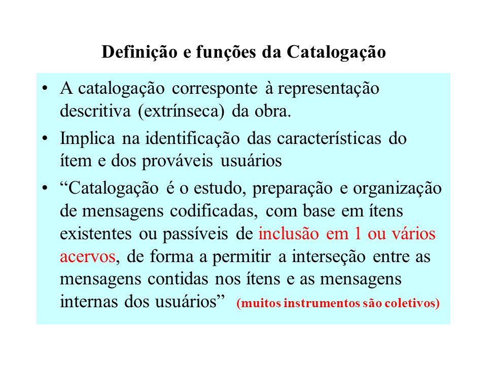 Definição e funções da Catalogação A catalogação corresponte à representação descritiva (extrínseca) da obra.