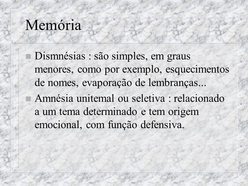 Memória n Dismnésias : são simples, em graus menores, como por exemplo, esquecimentos de nomes, evaporação de lembranças... n Amnésia unitemal ou sele
