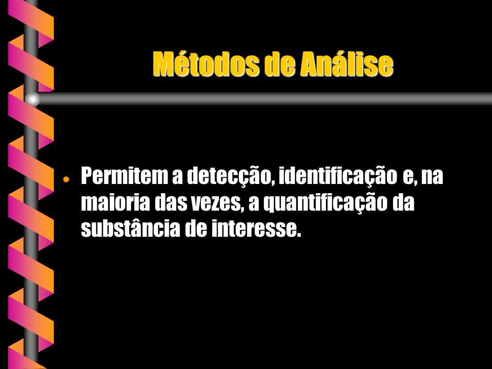 Métodos de Análise Permitem a detecção, identificação e, na maioria das vezes, a quantificação da substância de interesse. Permitem a detecção, identi