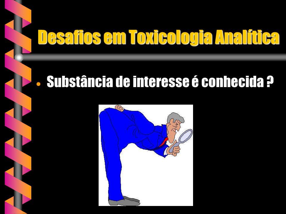 Desafios em Toxicologia Analítica Substância de interesse é conhecida ? Substância de interesse é conhecida ?