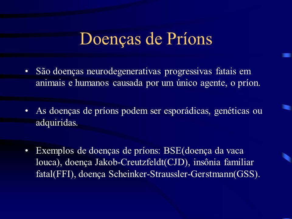Doenças de Príons São doenças neurodegenerativas progressivas fatais em animais e humanos causada por um único agente, o príon.