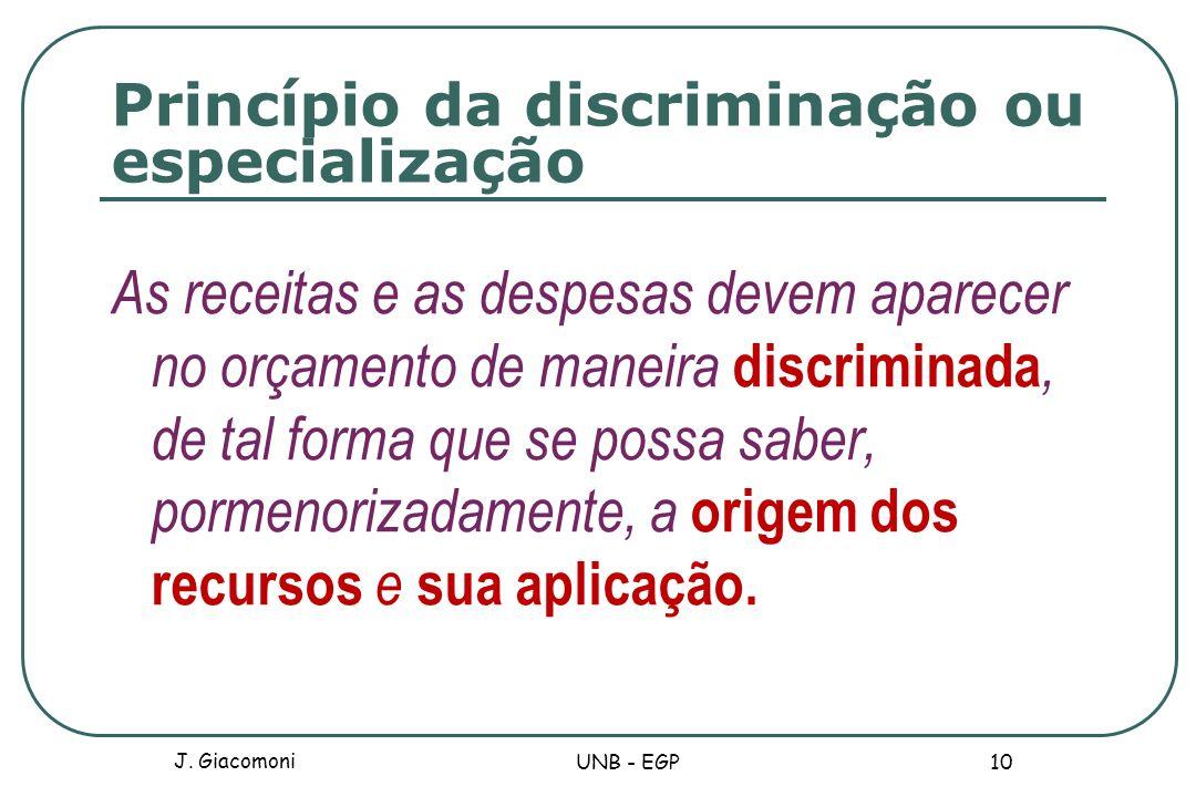 Princípio da discriminação ou especialização As receitas e as despesas devem aparecer no orçamento de maneira discriminada, de tal forma que se possa