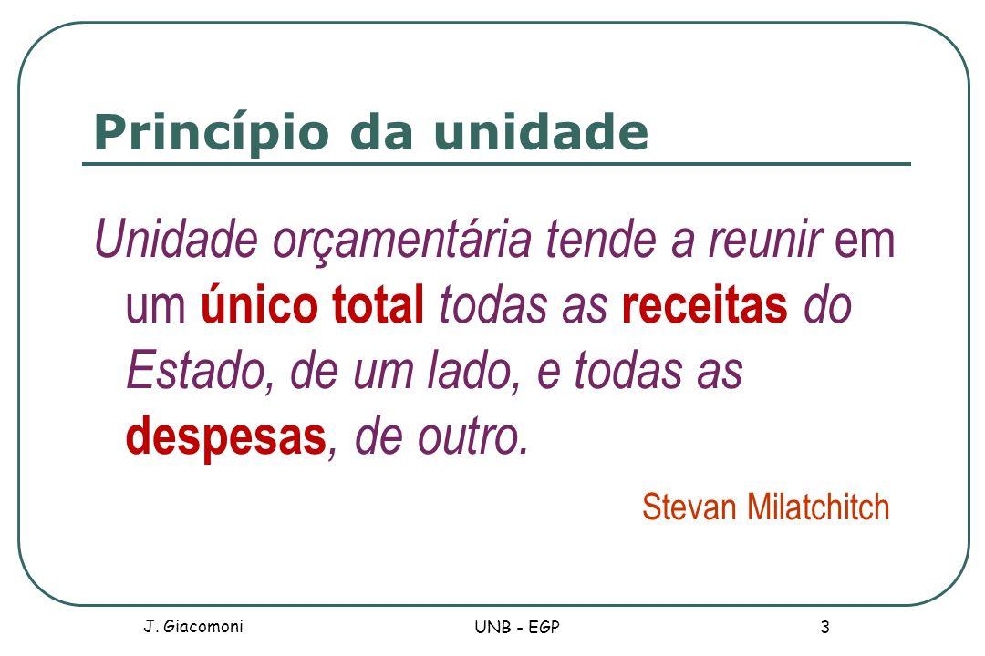 Princípio da universalidade O[s] orçamento[s] deve[m] conter todas as receitas e todas as despesas do Estado.