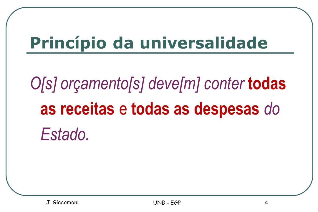 Princípio da universalidade O[s] orçamento[s] deve[m] conter todas as receitas e todas as despesas do Estado. J. Giacomoni UNB - EGP 4
