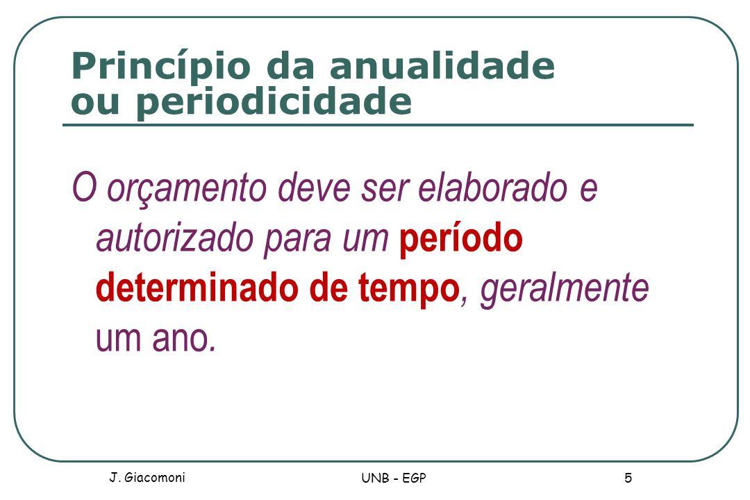 Princípio da anualidade ou periodicidade O orçamento deve ser elaborado e autorizado para um período determinado de tempo, geralmente um ano. J. Giaco