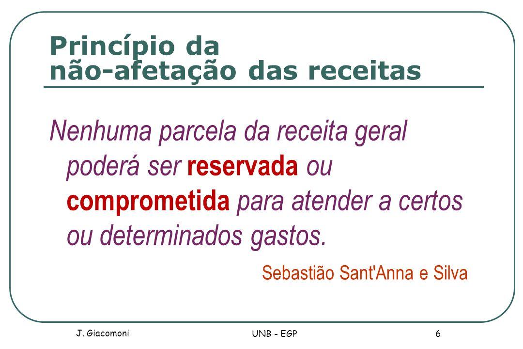 Princípio da não-afetação das receitas Nenhuma parcela da receita geral poderá ser reservada ou comprometida para atender a certos ou determinados gas