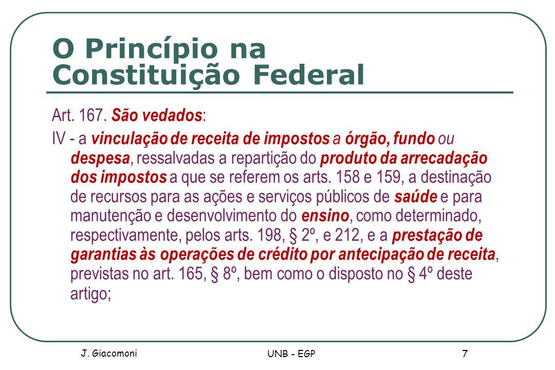 O Princípio na Constituição Federal Art. 167. São vedados : IV - a vinculação de receita de impostos a órgão, fundo ou despesa, ressalvadas a repartiç