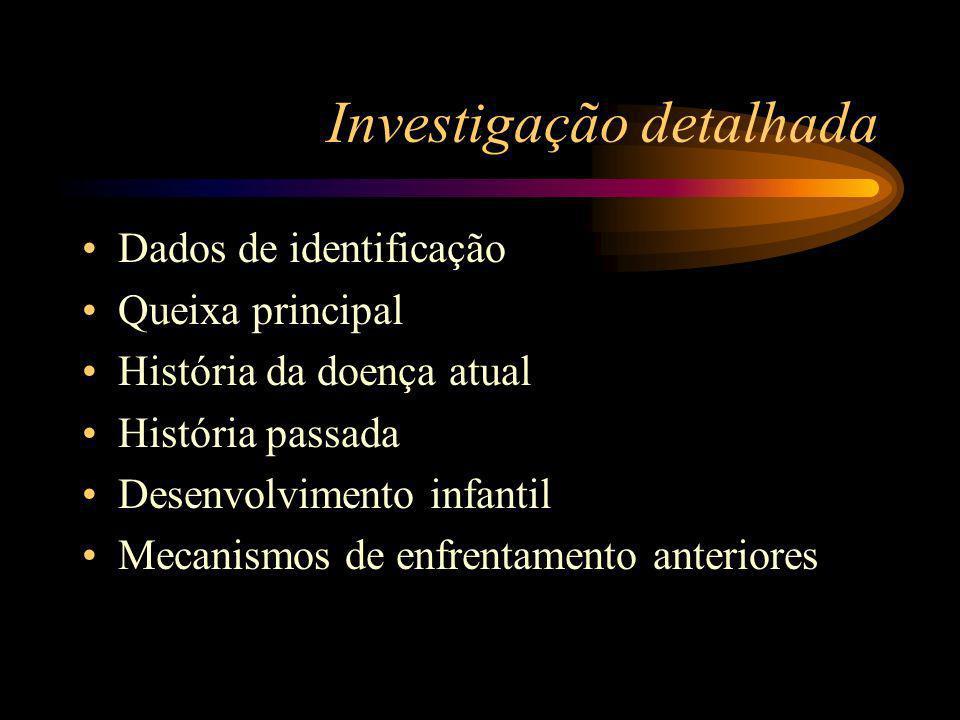 Investigação detalhada Dados de identificação Queixa principal História da doença atual História passada Desenvolvimento infantil Mecanismos de enfrentamento anteriores