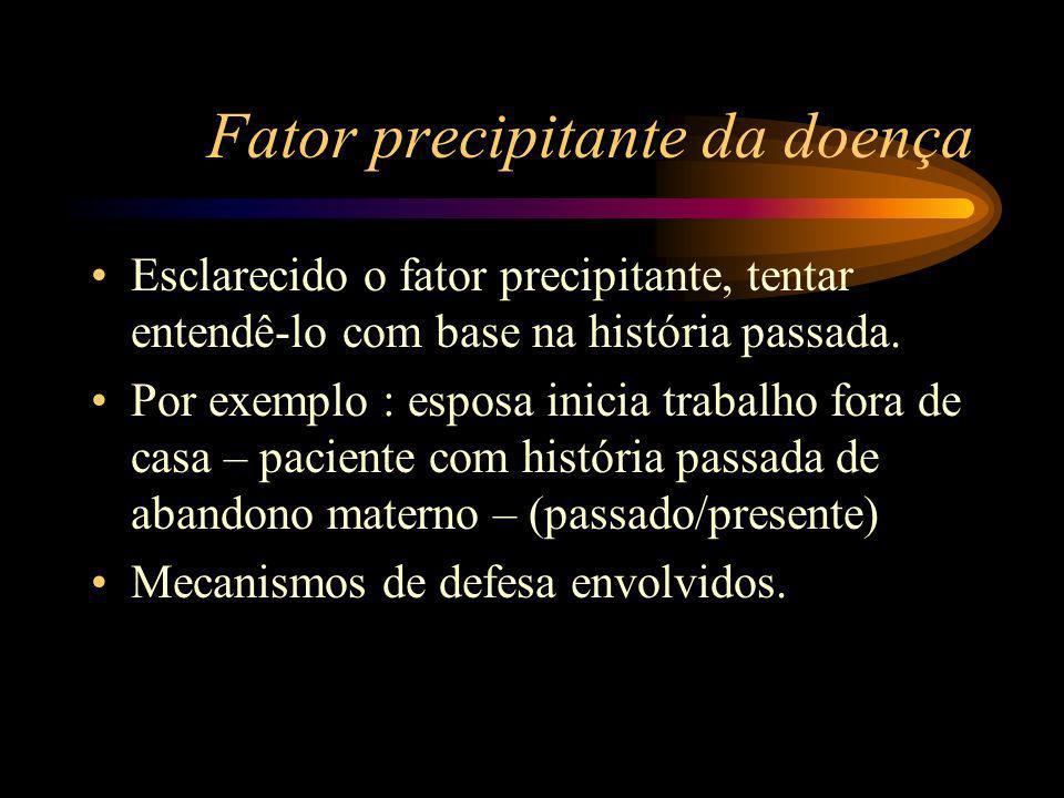 Fator precipitante da doença Esclarecido o fator precipitante, tentar entendê-lo com base na história passada.