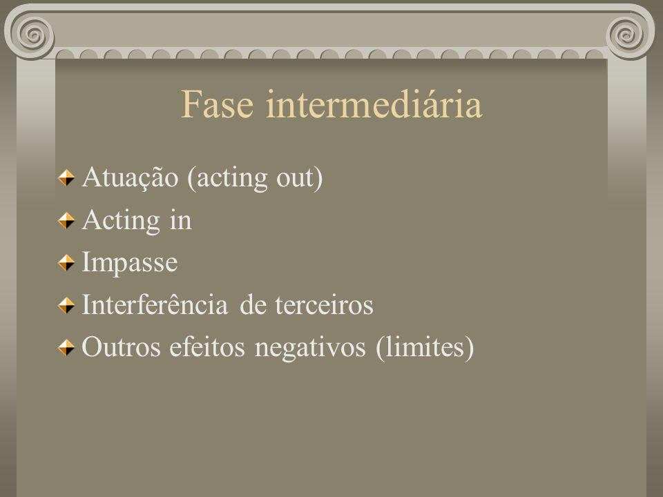 Fase intermediária Atuação (acting out) Acting in Impasse Interferência de terceiros Outros efeitos negativos (limites)