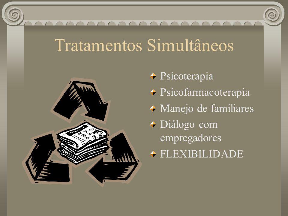 Tratamentos Simultâneos Psicoterapia Psicofarmacoterapia Manejo de familiares Diálogo com empregadores FLEXIBILIDADE