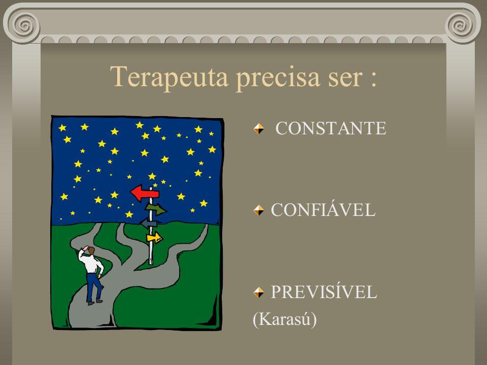 Terapeuta precisa ser : CONSTANTE CONFIÁVEL PREVISÍVEL (Karasú)