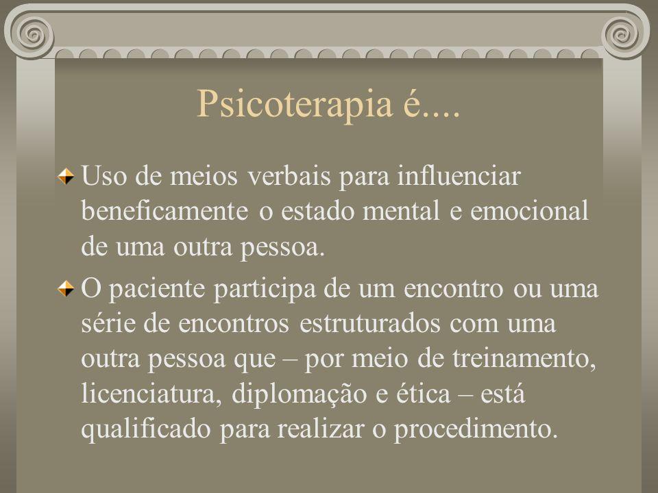 Psicoterapia é.... Uso de meios verbais para influenciar beneficamente o estado mental e emocional de uma outra pessoa. O paciente participa de um enc