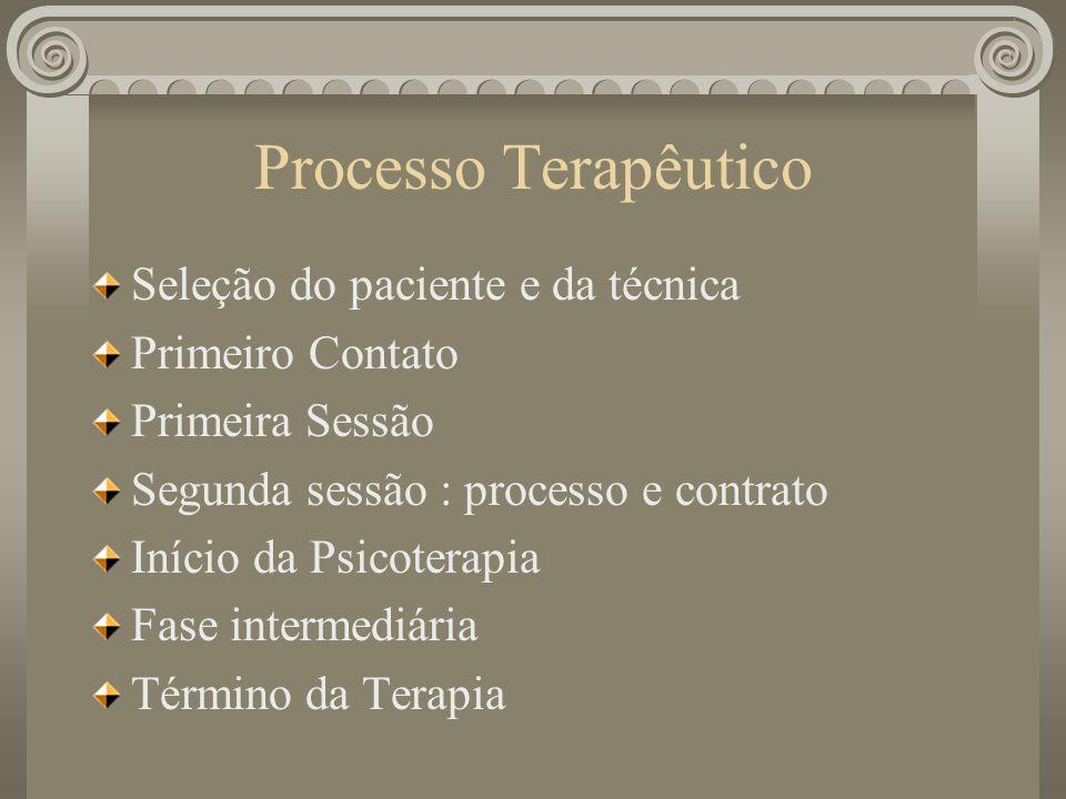Processo Terapêutico Seleção do paciente e da técnica Primeiro Contato Primeira Sessão Segunda sessão : processo e contrato Início da Psicoterapia Fas
