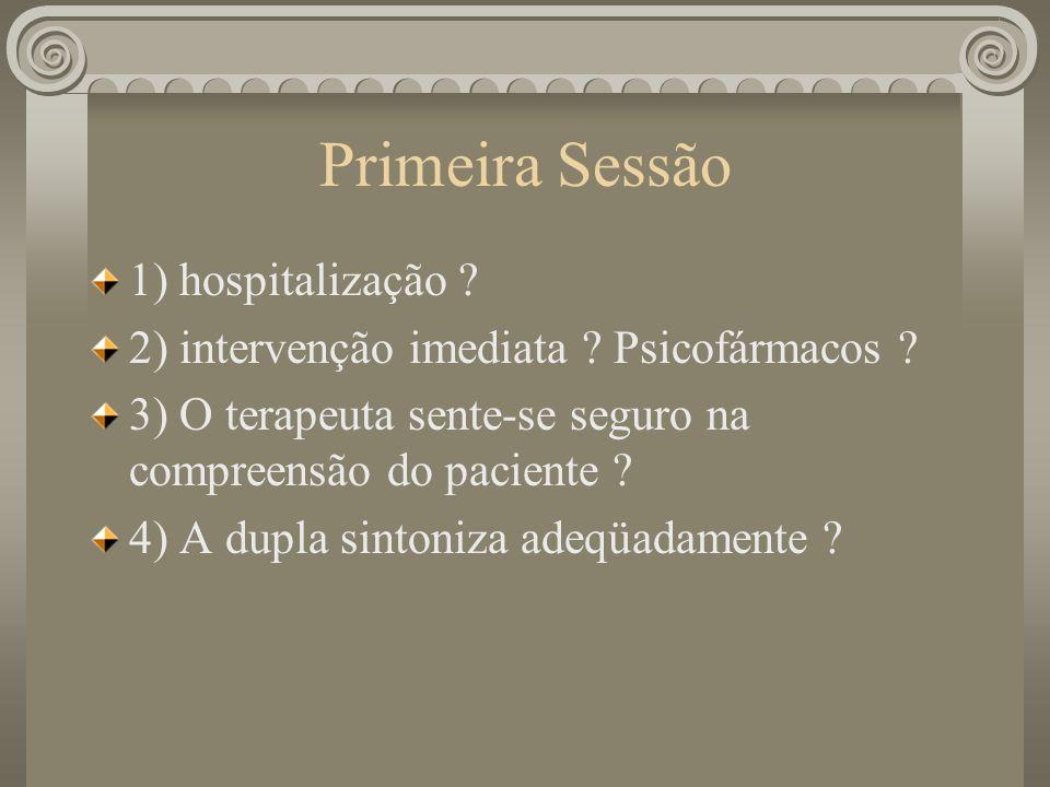 Primeira Sessão 1) hospitalização ? 2) intervenção imediata ? Psicofármacos ? 3) O terapeuta sente-se seguro na compreensão do paciente ? 4) A dupla s