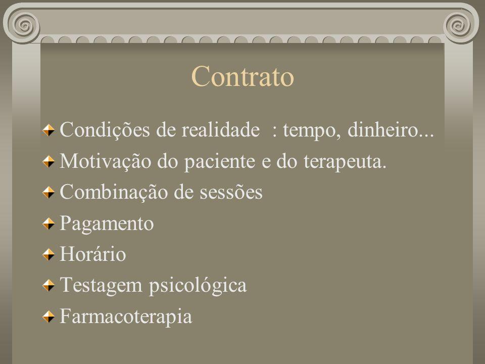 Contrato Condições de realidade : tempo, dinheiro... Motivação do paciente e do terapeuta. Combinação de sessões Pagamento Horário Testagem psicológic