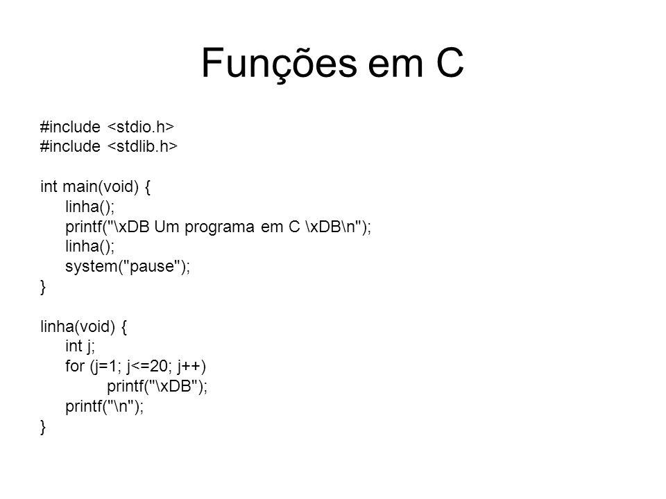 Funções em C Tem estrutura semelhante a função main(); São chamadas (usadas) da mesma forma que usamos funções de C (printf(), scaf(), gets(), getche(), etc) Retorna valor através do comando return(); Termina função com comando return;