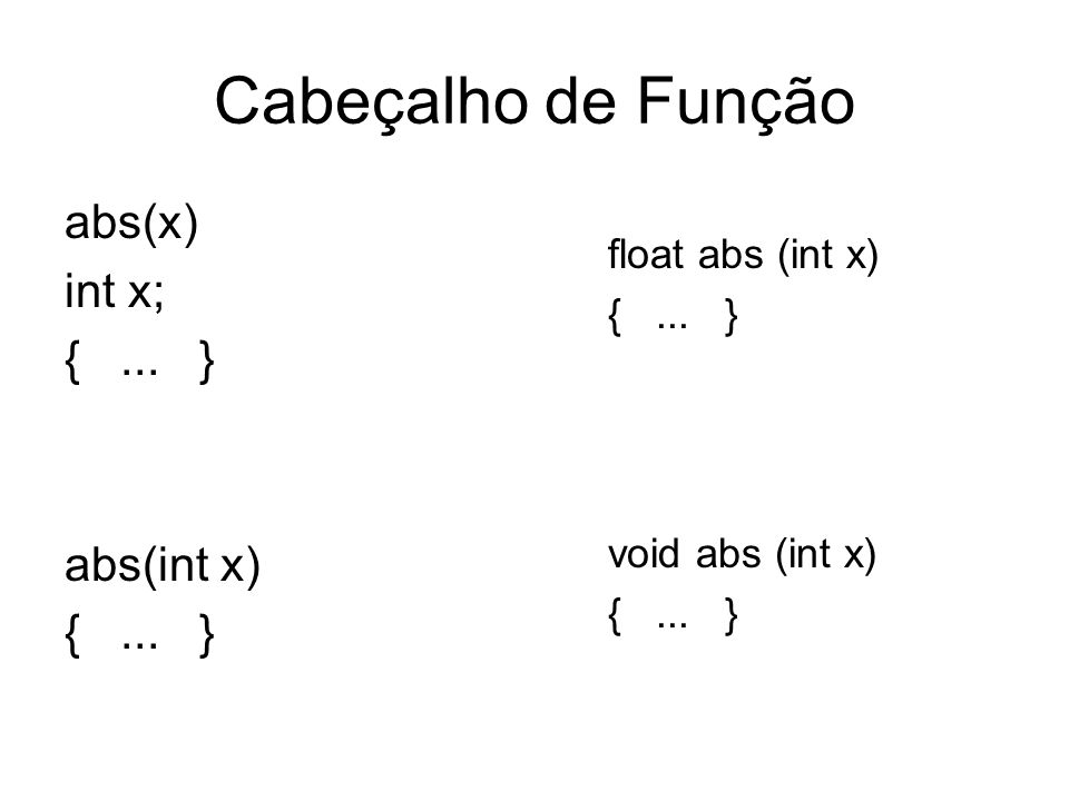 Cabeçalho de Função abs(x) int x; {... } abs(int x) {... } float abs (int x) {... } void abs (int x) {... }