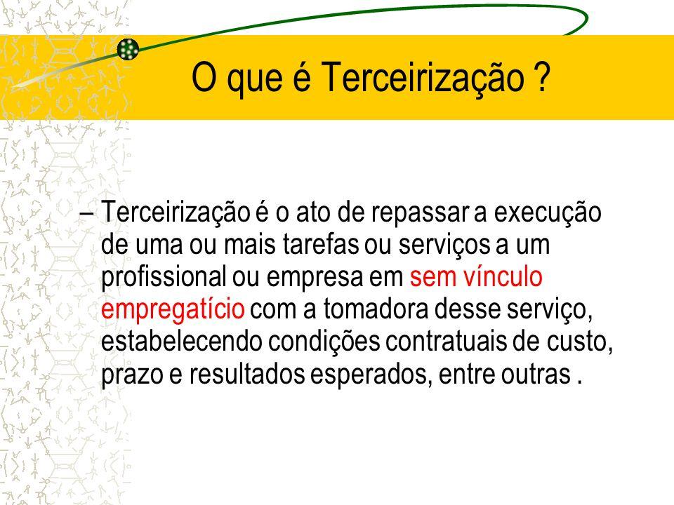 O que é Terceirização ? –Terceirização é o ato de repassar a execução de uma ou mais tarefas ou serviços a um profissional ou empresa em sem vínculo e