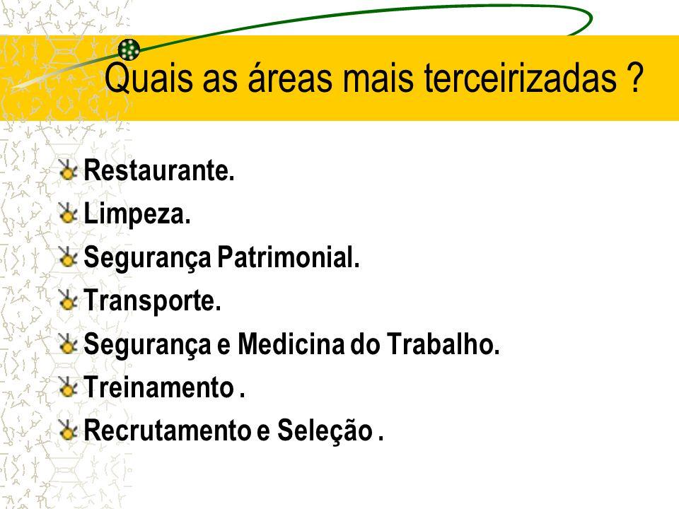 Quais as áreas mais terceirizadas ? Restaurante. Limpeza. Segurança Patrimonial. Transporte. Segurança e Medicina do Trabalho. Treinamento. Recrutamen
