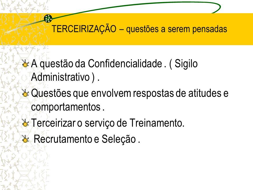 TERCEIRIZAÇÃO – questões a serem pensadas A questão da Confidencialidade. ( Sigilo Administrativo ). Questões que envolvem respostas de atitudes e com
