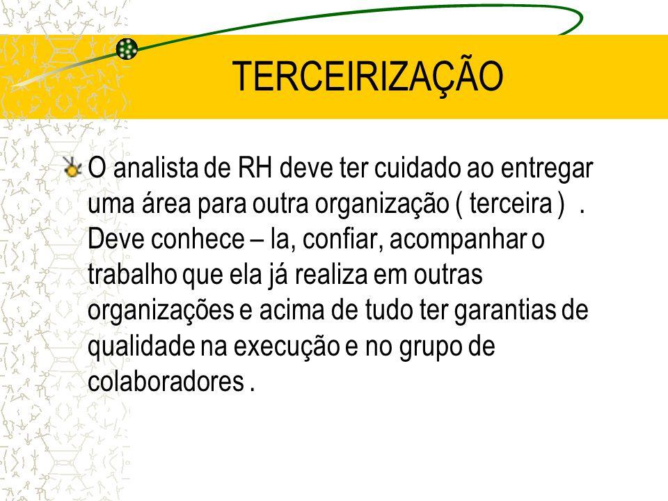 TERCEIRIZAÇÃO O analista de RH deve ter cuidado ao entregar uma área para outra organização ( terceira ). Deve conhece – la, confiar, acompanhar o tra