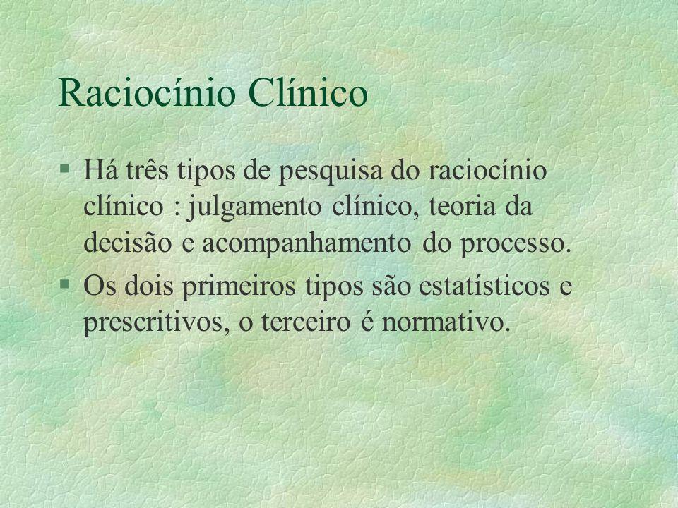 Raciocínio Clínico §Há três tipos de pesquisa do raciocínio clínico : julgamento clínico, teoria da decisão e acompanhamento do processo.
