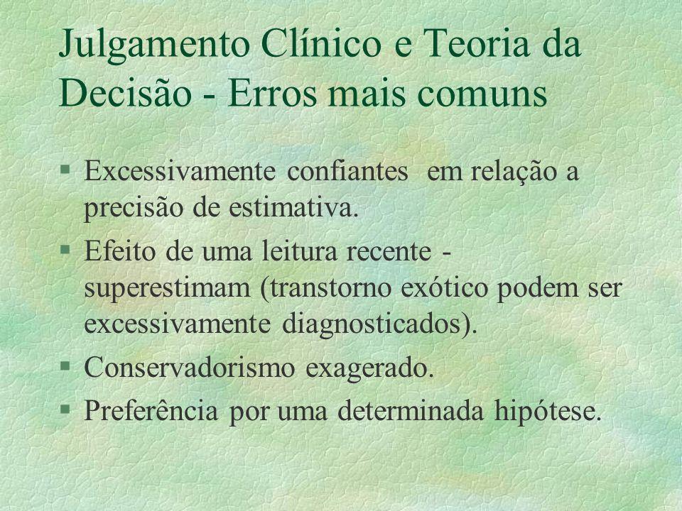 Julgamento Clínico e Teoria da Decisão - Erros mais comuns §Excessivamente confiantes em relação a precisão de estimativa.