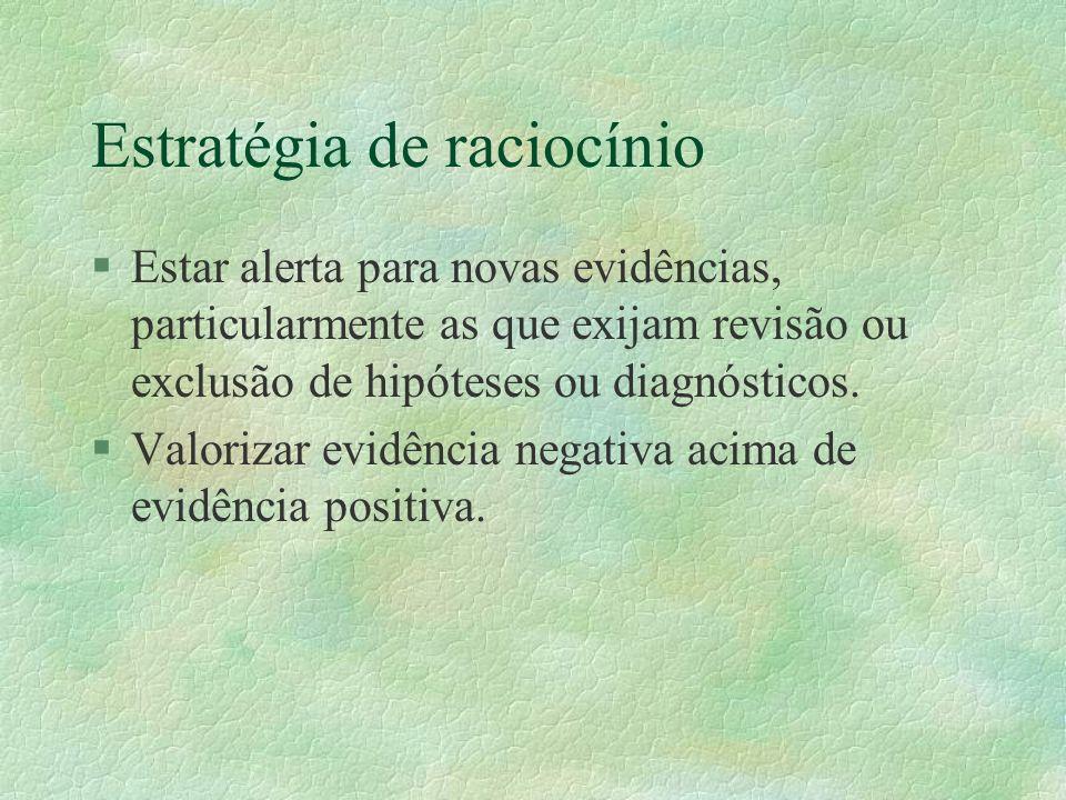 Estratégia de raciocínio §Estar alerta para novas evidências, particularmente as que exijam revisão ou exclusão de hipóteses ou diagnósticos.