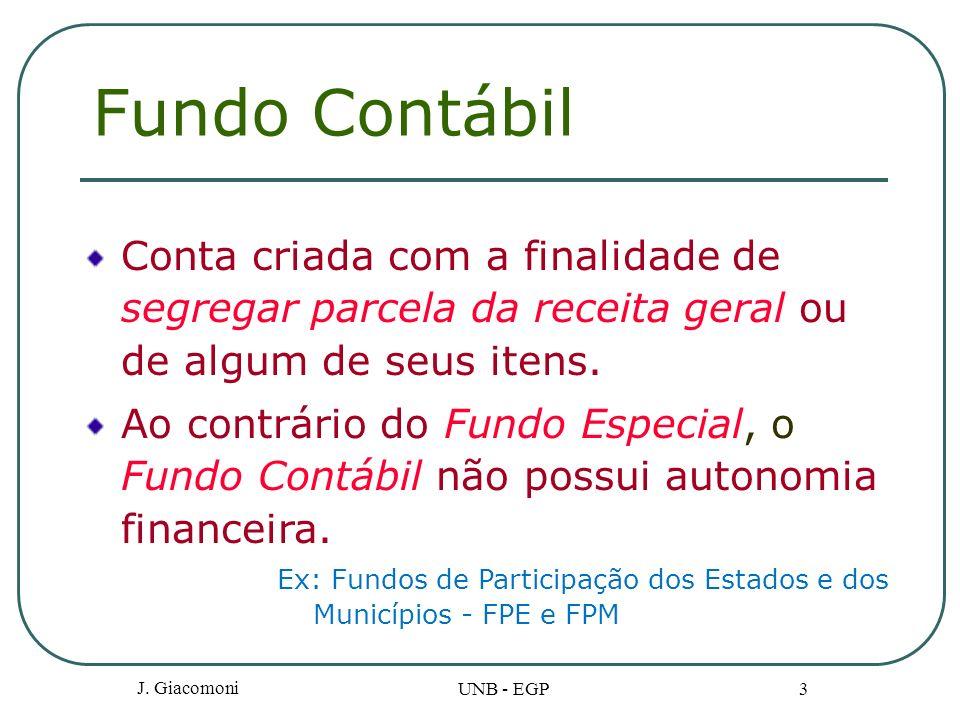 J. Giacomoni UNB - EGP 3 Fundo Contábil Conta criada com a finalidade de segregar parcela da receita geral ou de algum de seus itens. Ao contrário do